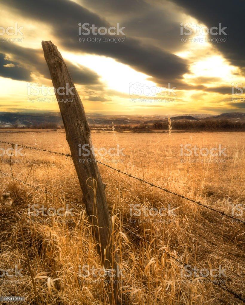 Prairie Fence stock photo
