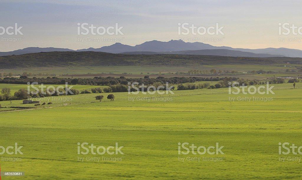 Prairie field mountain stock photo