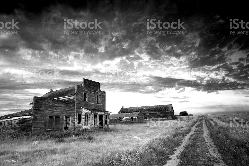 Prairie Ghost Town in Black and White Prairie Ghost Town in Black and White Abandoned Stock Photo