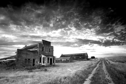 Prairie Ghost Town In Black And White Stock Photo - Download Image Now