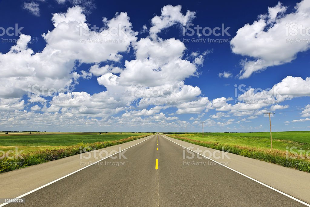 Prairie highway stock photo