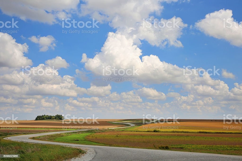 Prairie Landscape with Winding Road and Cloud Shadows stock photo