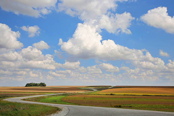 prairie landscape with winding road and cloud shadows - great plains stock photos and pictures