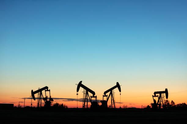 Prairie Oil Pump Jacks Canada USA stock photo