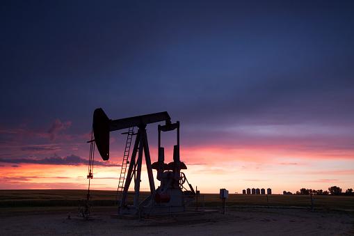 Sunset over Weyburn Saskatchewan, local oil. Image taken from a tripod.