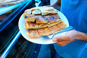 Prairie (meadow, moor) pide with cheese, mince and potatoes. Black Sea region,\