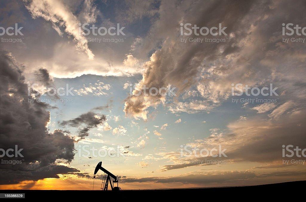 Prairie Pumpjack Silhouette royalty-free stock photo