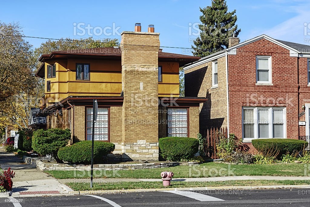 Prairie style house in Calumet Heights, Chicago royalty-free stock photo