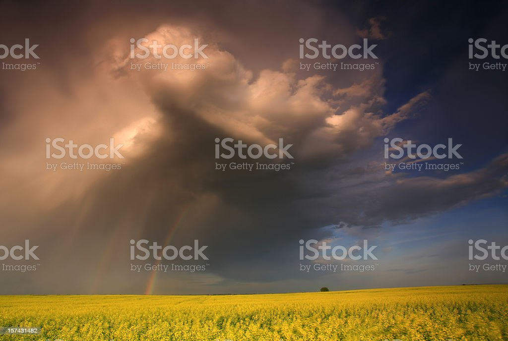 Prairie Thunderstorm in the American Midwest stock photo