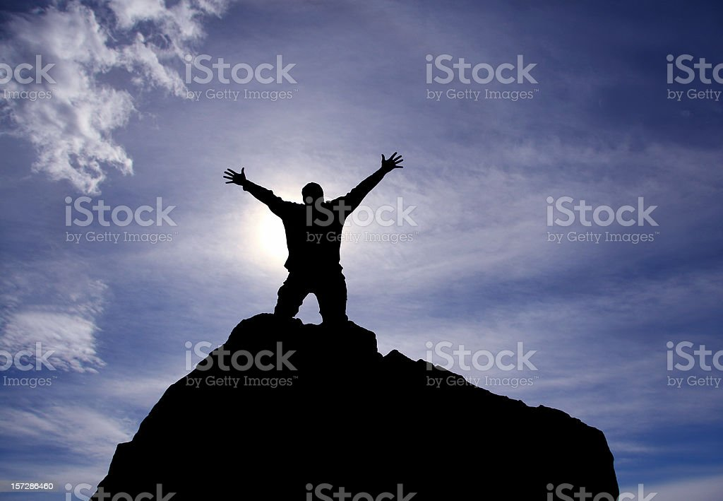 Praise and Worship Silhouette royalty-free stock photo