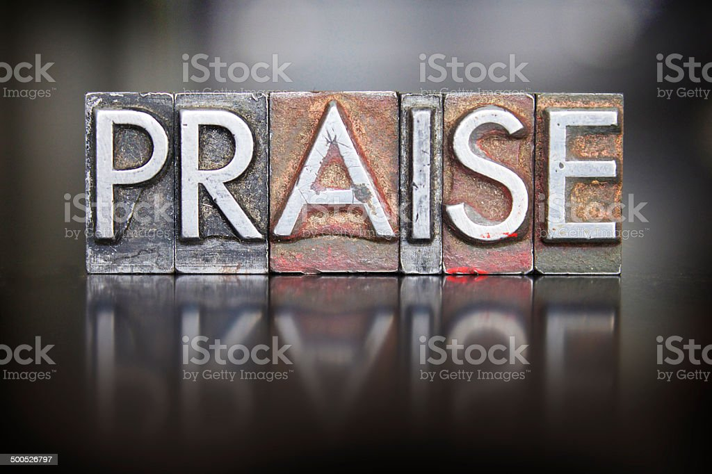 Praise Letterpress stock photo