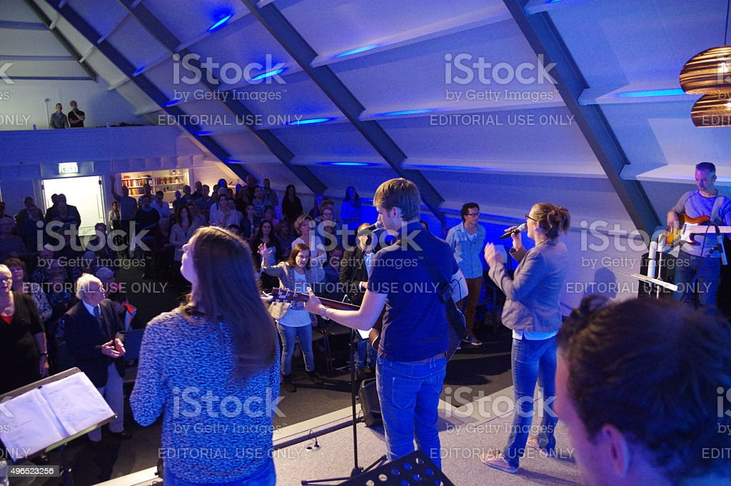 Praiseband having a concert. stock photo