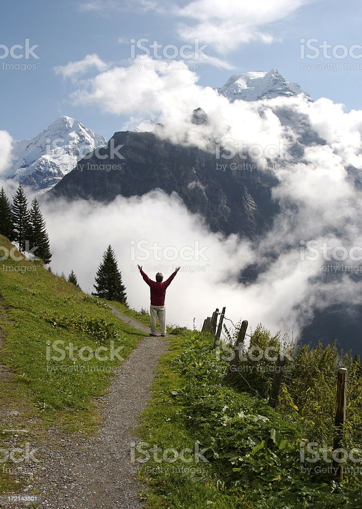 Praising God In the Swiss Alps royalty-free stock photo