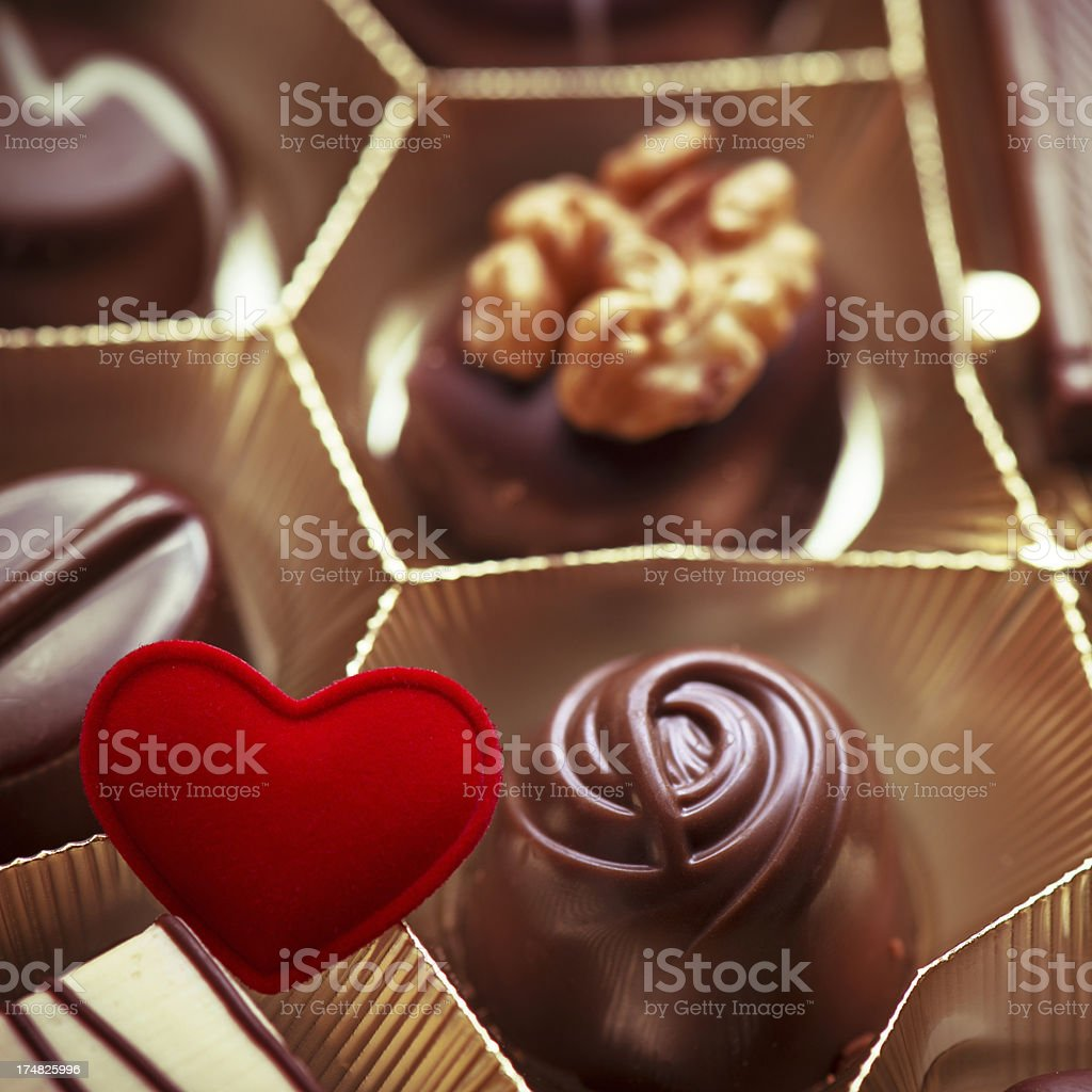 Pralines with heart shape royalty-free stock photo