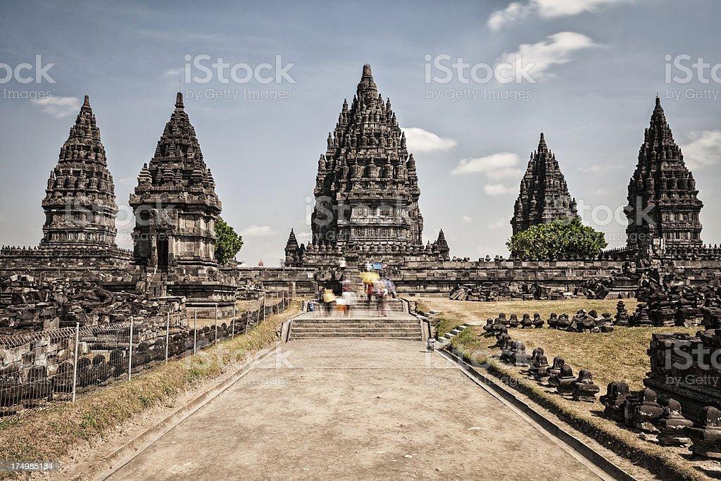 Prambanan Hindu Temple Ruins in East Java, Indonesia stock photo