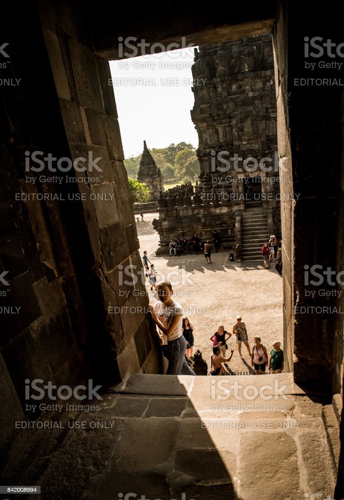Prambanan or Candi Rara Jonggrang is a Hindu temple compound in Java, Indonesia, dedicated to the Trimurti: the Creator (Brahma), the Preserver (Vishnu) and the Destroyer (Shiva) stock photo