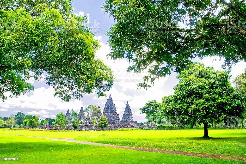 Prambanan temple near Yogyakarta on Java island, Indonesia stock photo