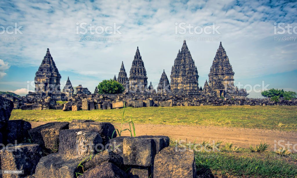 Prambanan temple restore stock photo