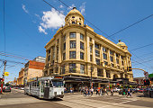 Melbourne, Australia - November 28, 2015: A tram passes Pran Central, a shopping centre located on Chapel St in Prahran.