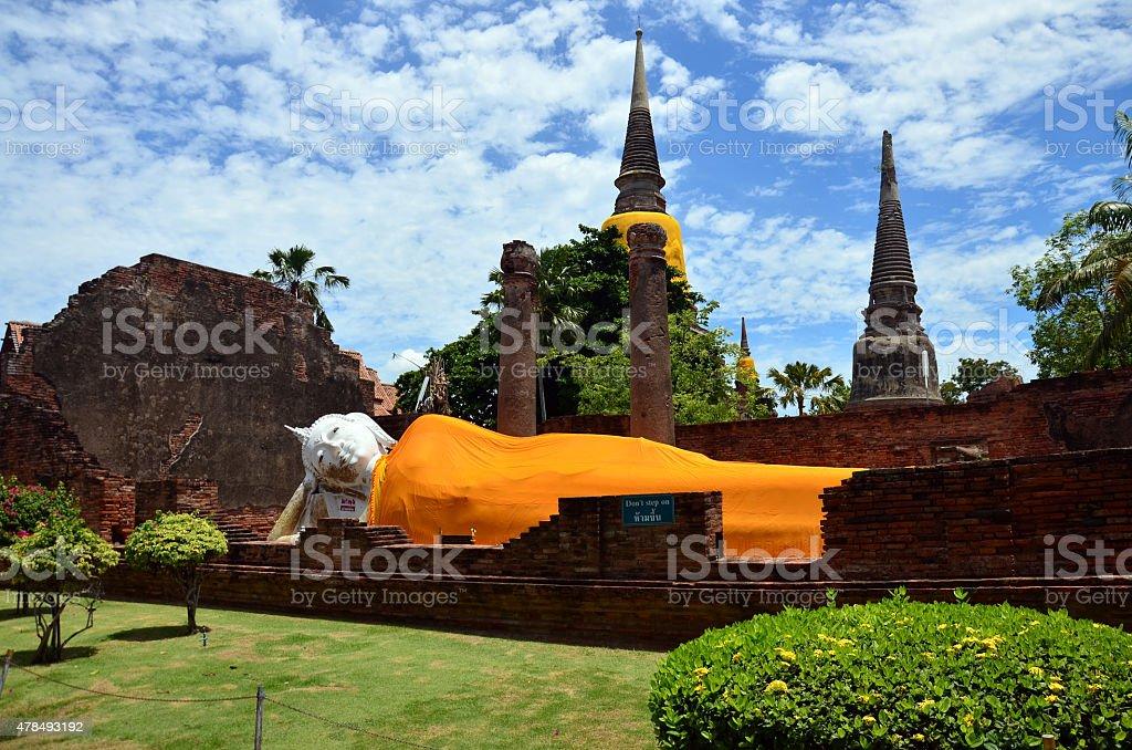 Prang and Reclining Buddha Statue of Wat yai chai mongkhon stock photo
