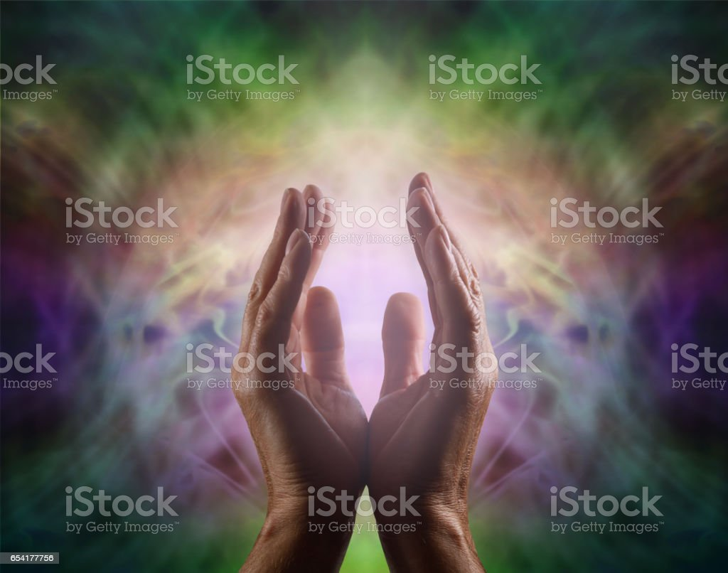 Pranic healer with beautiful Aura stock photo