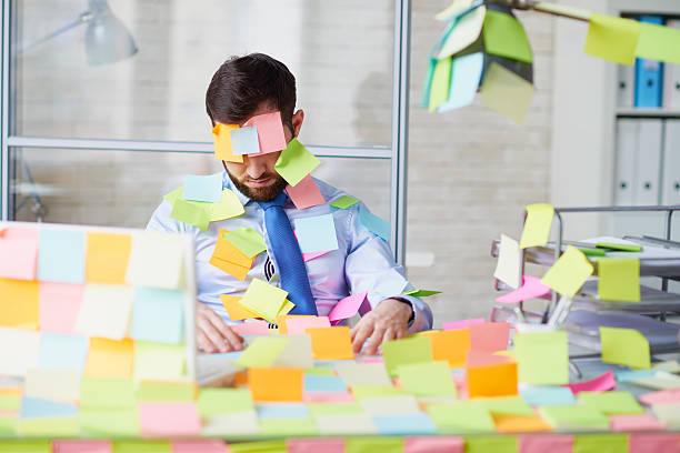 pranked office worker - april fools stock photos and pictures