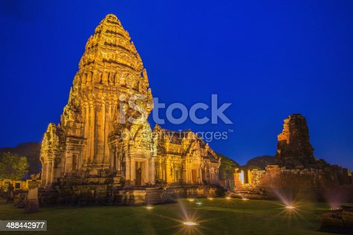 Old town Phimai Historical Lights at night Park, Ancient city of thailand