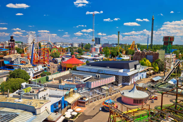 Prater amusement park in Vienna aerial view, colorful capital of Austria Prater amusement park in Vienna aerial view, colorful capital of Austria amusement park stock pictures, royalty-free photos & images