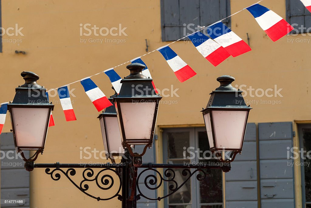 Prats-de-Mollo-la-Preste (Pyrenees, France):  14th July stock photo