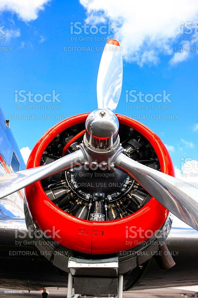 Pratt & Whitney 1930s aircraft radial engine stock photo