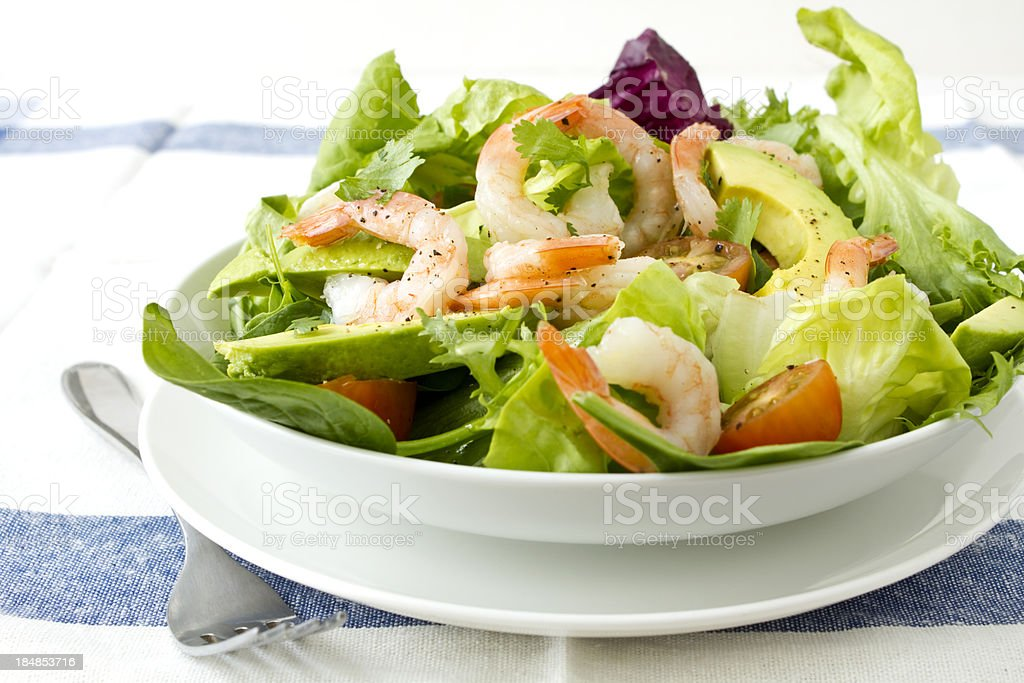 Prawn and avocado salad stock photo