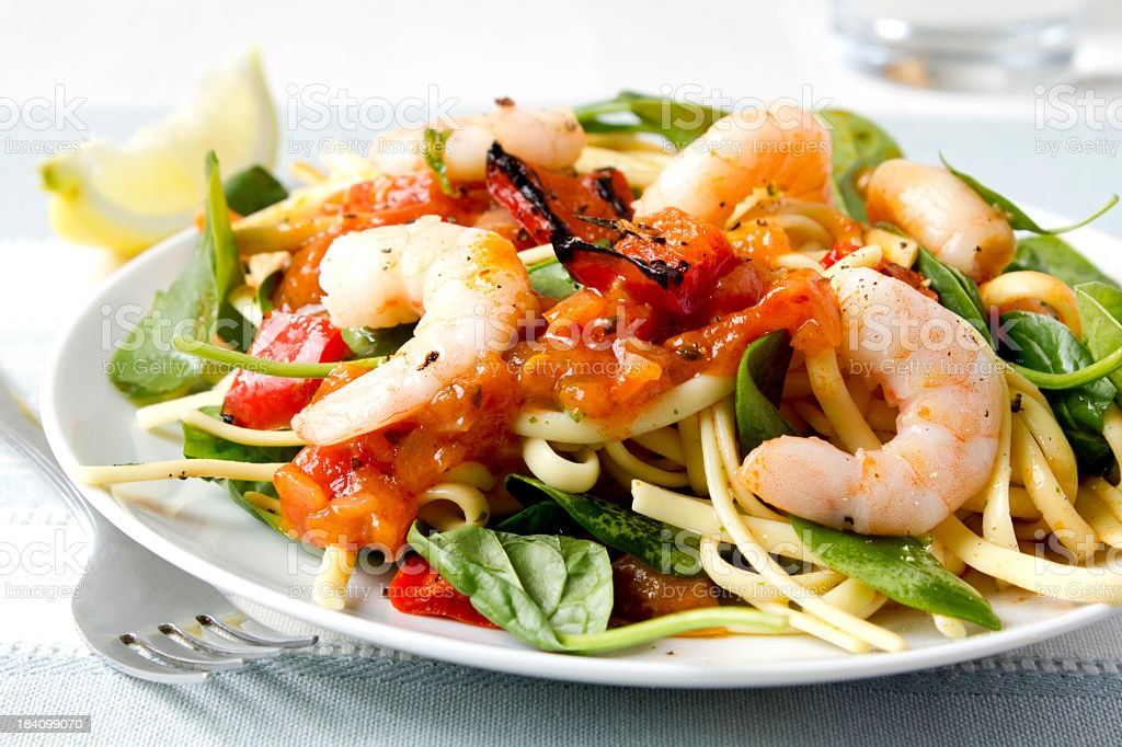 Prawn and spinach pasta royalty-free stock photo