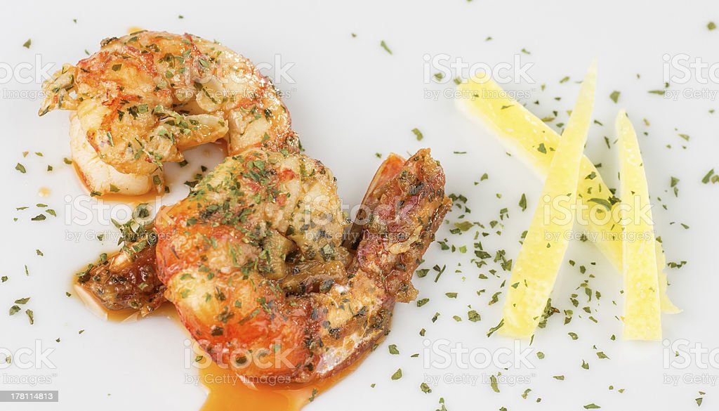 prawn appetizer for two stock photo