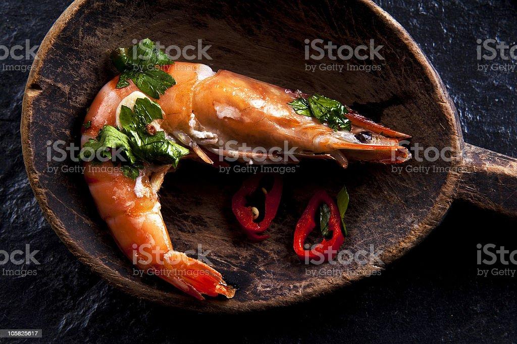 Prawn chilli stock photo