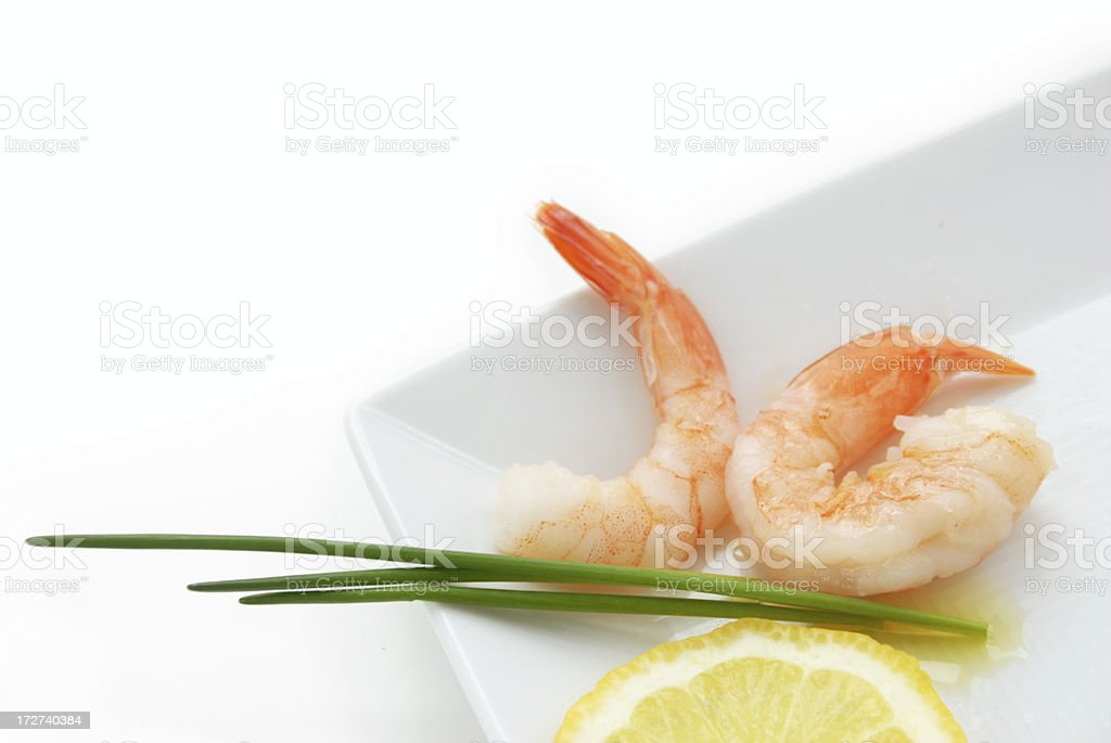 prawn, chives and lemon royalty-free stock photo
