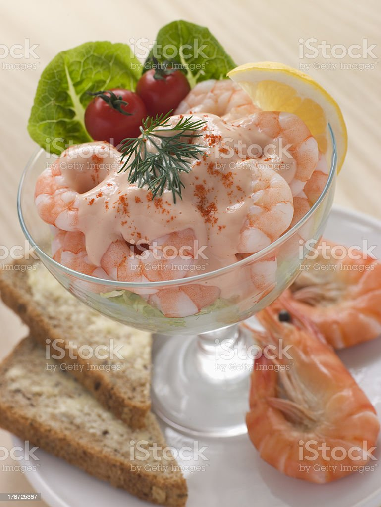 Prawn Cocktail in a glass with Brown Bread royalty-free stock photo