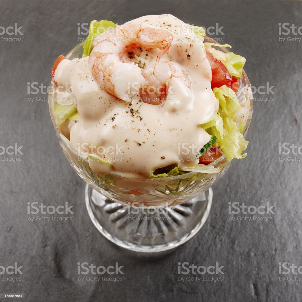 Prawn Cocktail In Glass Dish On Slate Surface stock photo
