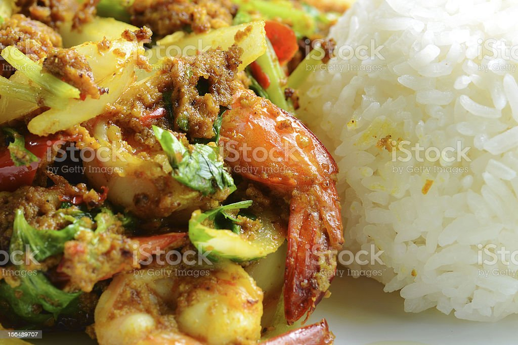Prawn curry rice royalty-free stock photo