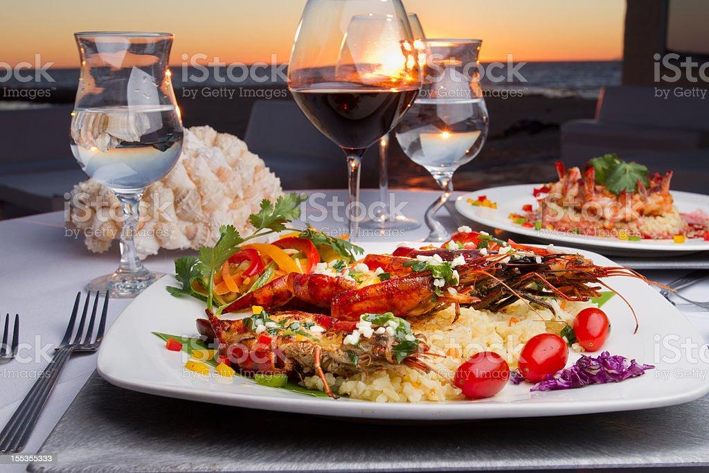 Prawn Dinner at Sunset royalty-free stock photo