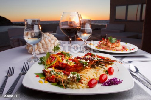 Prawn Dinner at Sunset on rice with red wine