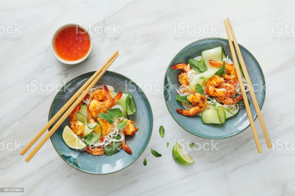 Prawn noodle salad with chilli and lime dressing stock photo