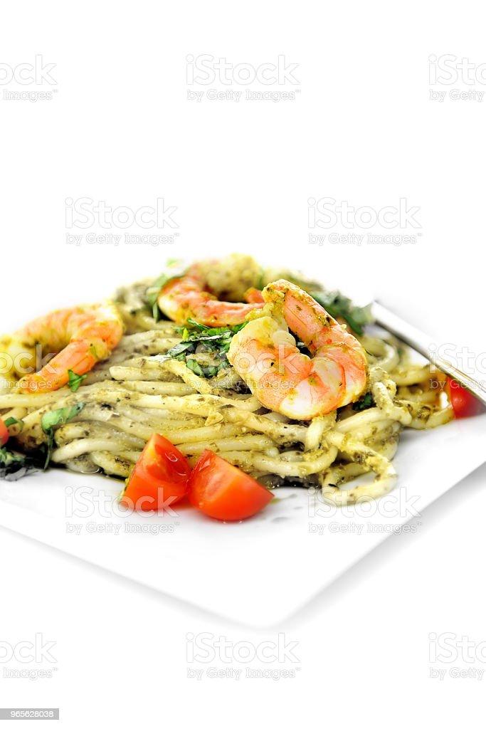 Prawn, Pesto Spaghetti stock photo