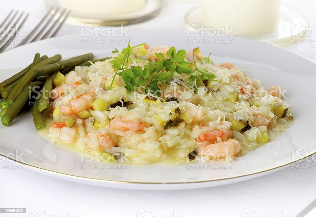 Prawn Risotto, front view royalty-free stock photo