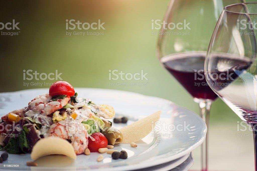 Prawn salad in a restaurant stock photo