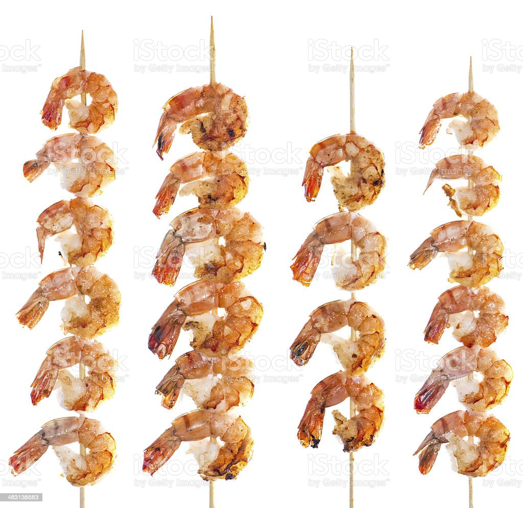 Prawn Skewer isolated on white stock photo