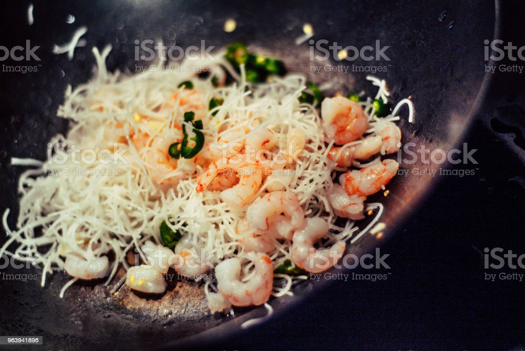 Prawn Stir-Fry - Royalty-free Black Color Stock Photo