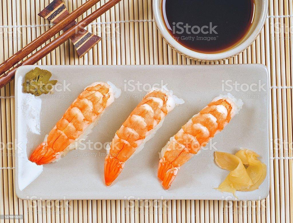 Prawn sushi and soya royalty-free stock photo