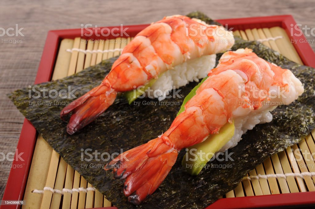 Prawn sushi royalty-free stock photo