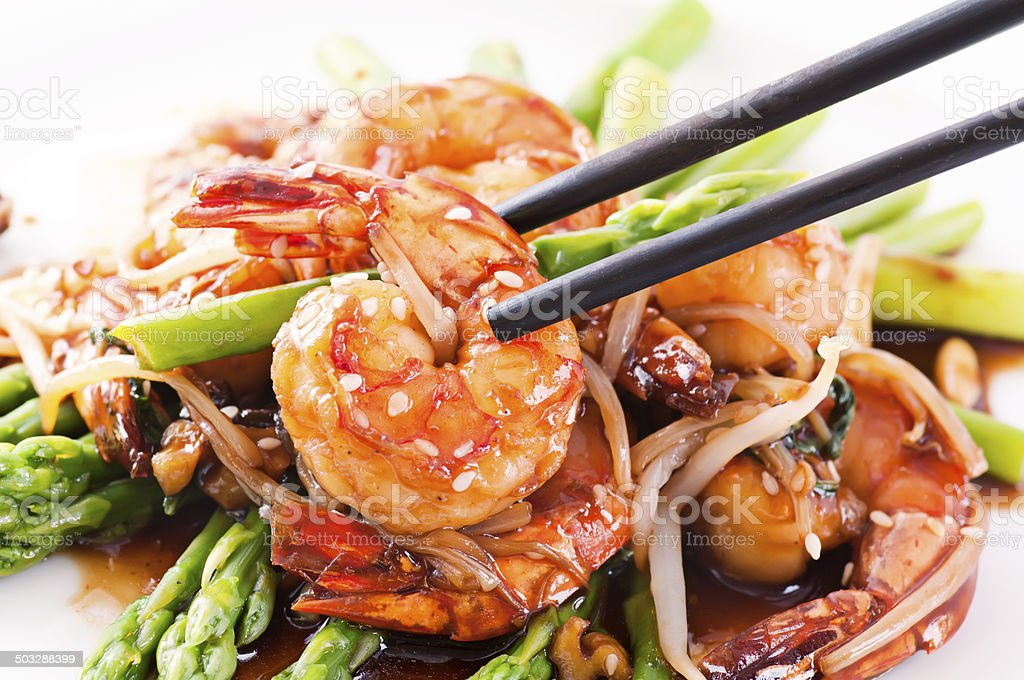 Prawn with Green Asparagus stock photo