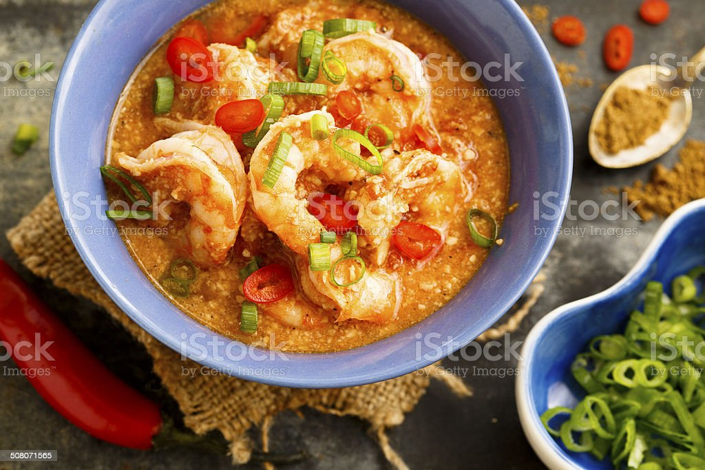 Prawns and cashew curry stock photo